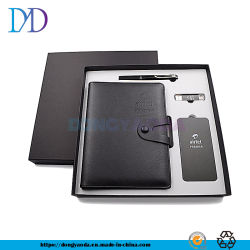 Kundenspezifisches PU-ledernes Geschäfts-Feder-, Energien-Bank-, Notizbuch-und OTG USB-Geschenk eingestellt für Geschenk
