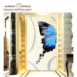 Mosaicos de vidro artesanais murais de azulejos de parede de vidro de borboletas em Mosaico de Imagens de Pintura decorativa designs de mosaico de padrão