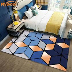 大きな柔らかい書斎のラグの床には幾何学模様のモダンアートリビングが設けられている 客室のカーペット、ノルディックベッドルーム、ベッドサイドのブランケットエリアのラグ