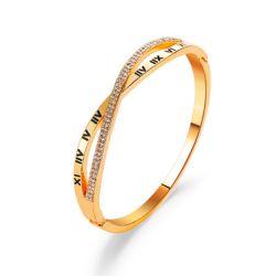 Braccialetti del braccialetto dell'acciaio inossidabile per il braccialetto di numeri romani delle donne con i Rhinestones Esg14191