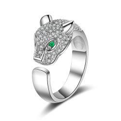 Vrouwen verstelbare Open Animal Ring, Cute Lovely Fox met Stones Ring voor vrouwen Esg13439