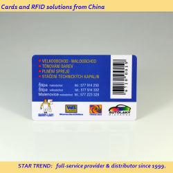 Cuatro colores CMYK preimpresas códigos de barras de plástico con una buena tarjeta de descuento!