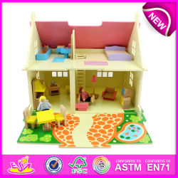 Kids, Children, Baby W06A097를 위한 Cheap Mini Wooden Doll House를 위한 DIY Wooden Doll House를 위한 가장 새로운 Fashion Wooden Toy Doll House