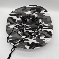 유니섹스 썸머 코튼 아웃도어 와이드 피셔맨 모자 낚시 모자 금속 메시 구멍이 있는 조정 가능한 문자열