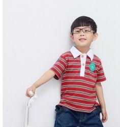 カスタムロゴストリップファッションコットン子供用ポロシャツ
