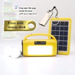 Reproductor de MP3 Radio FM linterna LED lámpara LED con batería recargable de Altavoz inalámbrico Bluetooth con el Banco de la energía solar