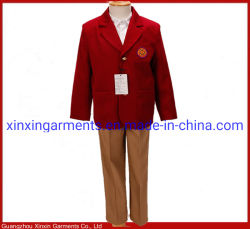 학교 로고 (U63)를 가진 OEM 고등학교 적갈색 블레이저 코트 제복