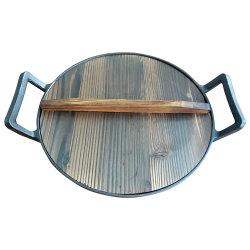 Dos asas de hierro fundido de Cocina China Wok con tapa