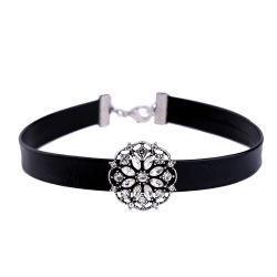 Joyería simple para la dama de la cadena de cuero con cristales colgantes de Piedras Preciosas Joyas Collar Gargantilla