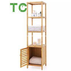 Cuarto de baño Bambú Hotselling estante, Armario de almacenamiento de suelo de madera estante esquina con cajón Rack Rack de la pantalla de la planta de la torre de 3 niveles de almacenamiento rack multifunción
