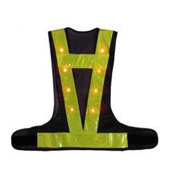 Viz poliéster de alta seguridad del tráfico de la luz de LED intermitente Chaleco ropa para la ejecución de noche