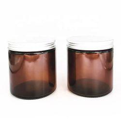 Пустой желтый или коричневый 500ml 16oz 250 мл 8 унции за круглым столом прямо бокового стекла при свечах Jar контейнер для хранения бутылок&кувшин с металлическим винтом оптовые крышки багажника