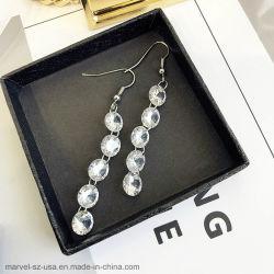 De Juwelen van vrouwen 925 Echte Zilveren Oorringen van de Manier van de Tegenhanger van het Kristal van de Keten van de Link