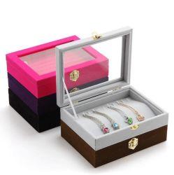 Joyero para Collar Arete titular anillo anillo de terciopelo de bandejas con una clara ventana de cristal y metal Lock