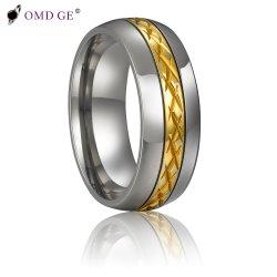 Uitstekende gouden Tungsten Jewelry Male Jewelry Ring met patroon