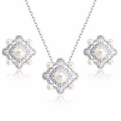De último diseño venta al por mayor 925 Joyería de Plata Collar de perlas Conjunto de joyas