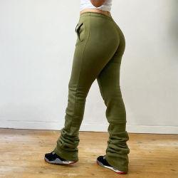 Logotipo livre mulheres Calças fatos - Comprimento Total Calças de Inverno roupas da moda mulheres empilhadas Pants Senhoras Pants