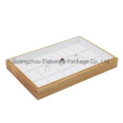 Venda por grosso Natural Empilháveis Maple Anéis de madeira Apresentação Jóia Exibir Bandeja com 15 compartimentos