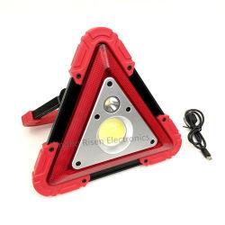 USB قابل للنقل بقدرة 10 واط، سيارة قابلة لإعادة الشحن، مثلّث مقاوم للمياه، مثلّث 3 COB مصباح العمل بمصابيح العمل السريعة في حالات الطوارئ على الطرق الممهدة