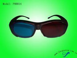 Мода пластиковый красный голубой 3D-очков (PH0014RC)