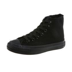 남성용 여성용 블랙/화이트 끈 업 플림솔 스니커스 캔버스를 운영하는 학생 신발