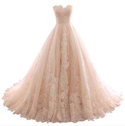 Tüll Brautkleider Spitze Perlen Plissee A-Linie Schatz echte Fotos Hochzeitskleid 2021 D18