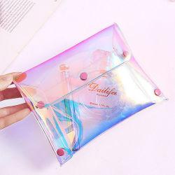 ボタンの閉鎖レーザーPUは袋PVCゼリーのエンベロプの化粧品袋を構成する