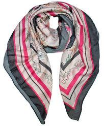 Heißer Verkauf Square Damen Schal Rosa Floral Soft Silk Gefühl 2021