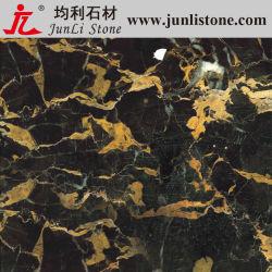 Zwarte Gouden Bloem Composite Marble Tile