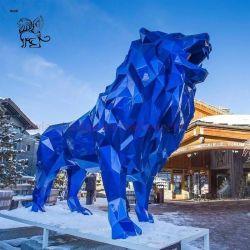 Moderne Kunst kundenspezifische Fiberglas-geometrisches Skulptur-großes Harz-blaue Löwe-Statue-Skulptur
