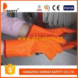 Оранжевый ПВХ резиновые флюоресценция масло доказательство пыли промышленной безопасности рабочие перчатки, ПВХ зимой замороженные теплый изоляционные работы короткого замыкания стороны перчатки