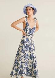 Mode féminine Floral personnalisé 100% lin longues robes de gros d'impression
