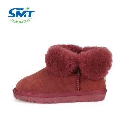 Натуральная кожа Sheepskin мех зимой снега ботинки для детей