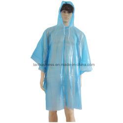 Capuchon attaché/ jetables PEVA / bleu / vêtements de pluie