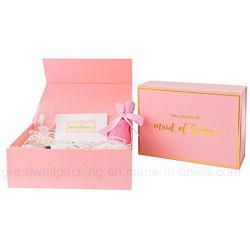 Het buitensporige Roze Vakje van de Gift van het Document van de Gunst van het Bruidsmeisje Vouwbare