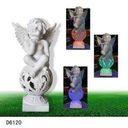 Polyresin/ângulo de resina com a energia solar iluminação para decoração de jardim