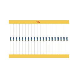 1K 1/4W Resistor de filme de metal de 1% de toda a gama de valores