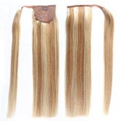 Largo de belleza afro envolver alrededor de clip en cordón Ponytail cabello humano real de piezas, el 100% de las Extensiones de Cabello Humano Ponytails