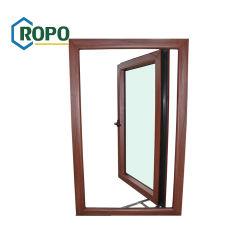 Color madera veteada UPVC/Plástico de PVC doble Casement Ventana de cristal
