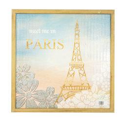 Farben-gedruckte und geschnitzte Wand Deco mit Eiffelturm