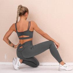As mulheres Yoga sem definir fatos desportivas Ginásio Fitness Vestuário Camisas Superior de Cultura de manga longa corrida de cintura elevada Perneiras calças de treino