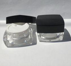 50ml pot de crème cosmétique en acrylique avec capuchon noir