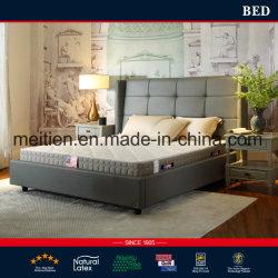 最新のデザインホーム家具の寝室セットの本物の純木の革ベッド