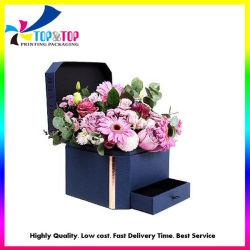 China proveedor de papel de regalo de lujo de embalaje de cartón de embalaje Flor de la plaza Hat cajón rosa caja de almacenamiento de joyas