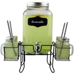 Grand bocal en verre de jus de distributeur de boissons Jar avec Tap/robinet