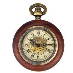 Reloj de madera clásica automática reloj de bolsillo Wholesales el movimiento mecánico.