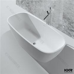 Vasca da bagno di pietra di superficie solida acrilica della stanza da bagno d'angolo indipendente di drenaggio