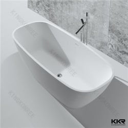 Bañera de hidromasaje independientes de drenaje de la esquina de la superficie sólida de acrílico de cuarto de baño bañera de piedra
