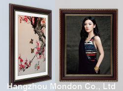 Cadre Photo en bois rouge solide mur suspendu avec garniture d'or