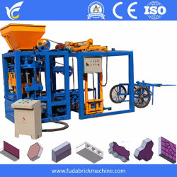O Qt4-24b Semi Color Espalhadoras máquina de tijolos 6 polegadas Bloco Oco Máquina de Venda de Incêndio